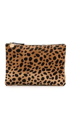 Clare V. Leopard Flat Haircalf Clutch | SHOPBOP SAVE UP TO 25% Use Code:GOBIG15