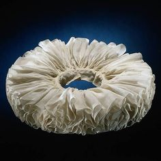 "Irregularly pleated linen collar, Northern Netherlands, c.1615-35 (via).    ""Early millstone ruffs were starched with regular pleats. This example, however, is looser and less tidy. It is of a type that was popular with young, fashionable men around 1615 to 1635. This is the only surviving pleated ruff in the world."" - Rijkmuseum"