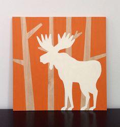 Large 2'x 2' Woodland Moose on Wood, Rustic Nursery, Woodland Nursery Art, Animal Silhouette, Moose Nursery Art, Boys Wall Art, Orange Decor