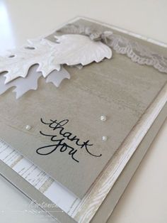 Love the subtle woodgrain texture behind these leaves. The lace and pearls are a perfect contrast on this card with neutral colors of Sahara Sand and Whisper White.  DIY Thank you card