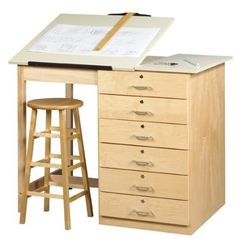 """Diversified Woodcrafts DT-8A UV Finish Solid Maple Wood Art/Drafting Table with Drawer, Plastic Laminate Top, 48"""" Width x 39-3/4"""" Height x 32-1/2"""" Depth by Diversified Woodcrafts. $1416.13. This deluxe unit has a plywood cabinet and solid maple apron and legs. Base includes six locking drawers (20-1/2"""" width by 19-3/4"""" depth), which are all keyed separate. The drawers are completely finished and dovetailed on all four sides. The almond colored plastic laminate 2-pi..."""