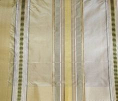 COWTAN & TOUT PALAZZO STRIPE SILK FABRIC CREAM YELLOW GREEN