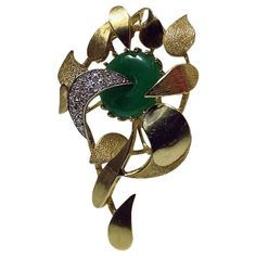 View this item and discover similar for sale at - Jade, Diamond and brooch in the form of a floral spray with textured and high polish petals. The brooch set with single cut diamonds, and fine green Antique Brooches, Jade Jewelry, Gold Flowers, Green Colors, Fashion Art, Diamond Cuts, Rose Gold, Pearls, Antiques