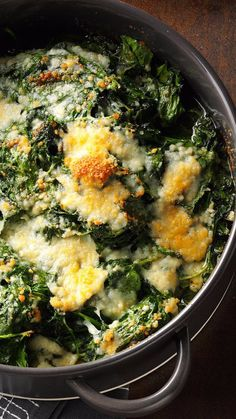 This Spinach-Parm Casserole Recipe from Taste of Home features fresh spinach with garlicky butter and Parmesan.