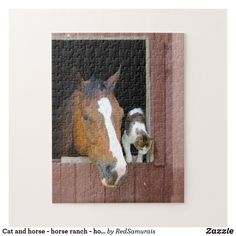 Cat and horse - horse ranch - horse lovers jigsaw puzzle Horse Horse, Horse Stables, Horse Farms, Horses, Horse Ranch, Make Your Own Puzzle, Custom Gift Boxes, Sticker Shop, High Quality Images