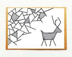 Kerstkaart rendier, Geometrische kerstkaart, Rendier illustratie, Kerstkaarten, Gelukkig nieuwjaar, Gelukkig 2018, Kerstdecoratie, Uniek