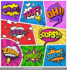 Buy Comic Page Background by imogi on GraphicRiver. Comic bright template with speech bubbles different wordings lightnings clouds on colorful frames vector illustration Cartoon Speech Bubble, Comic Bubble, Blank Comic Book, Comic Book Pages, Design Pop Art, Create Your Own Comic, Comic Text, Comic Frame, Colorful Frames