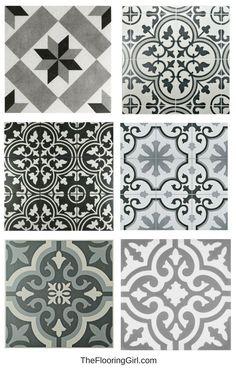 Farmhouse black and white stenciled tiles for a vintage farmhouse style look. #farmhouse #black #white #vintage #tiles #stenciled #farmhousedecor #rusticdecor #farmhousestyle