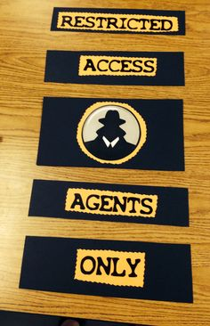 Door idea: A compilation of the best ideas I've seen for an awesome detective classroom theme. Spy Birthday Parties, Spy Party, Clue Party, School Themes, Classroom Themes, Classroom Door, Classroom Design, Preschool Classroom, School Ideas
