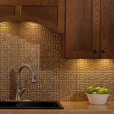Fasade Terrain Cracked Copper 18 in. x 24 in. Backsplash Panel