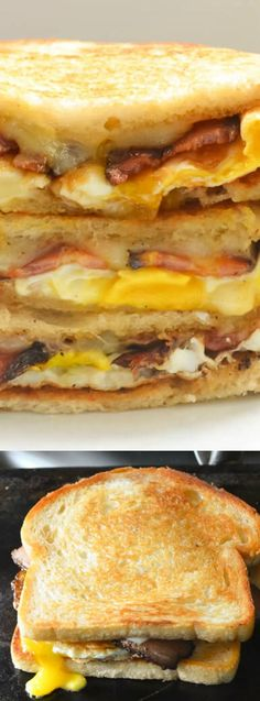 These Bacon and Egg Grilled Cheese Breakfast Sandwiches from Serena Bakes Simply From Scratch make the perfect Saturday morning breakfast for your family. (Baking Eggs For Sandwiches) What's For Breakfast, Morning Breakfast, Breakfast Dishes, Breakfast Recipes, Mexican Breakfast, Breakfast Pizza, Figs Breakfast, Breakfast Pictures, Jai Faim