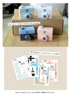 PRINTABLE - 4 cute cameras - PAPER CRAFT Project. $4.00, via Etsy.