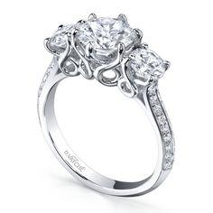 Designs by Vatche 3 stone swan pave diamond ring Diamonds Direct