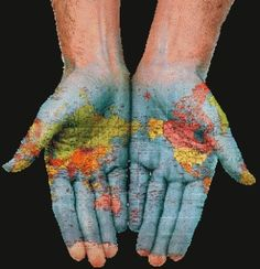 Our hands and hearts go out to the world...what a cool image! #worldmap #missions