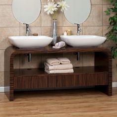 "60"" Bromley Double Sink Vanity with Vessel Sinks - Striped Ebony"