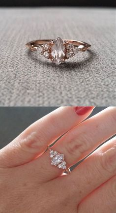 "Antique Engagement Ring Victorian White Sapphire Marquise Diamond Bohemian Antique Filigree Delicate 14K Rose Gold ""The Delphine"" #finestrings"
