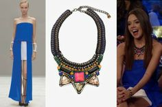 Kelly's Outfit on 'The Bachelor' Dress http://www.shopswank.com/collections/dresses/products/alexis-mavra-strapless-dress-in-cobalt | Necklace http://www.intermixonline.com/product/nocturne+pink+jewel+collar.do