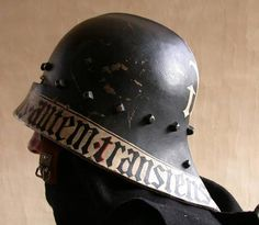 Sallet painted with motto in Latin using Germanic Gothic script around the rim. Medieval Knight, Medieval Armor, Medieval Fantasy, Ancient Armor, Types Of Armor, Medieval Helmets, Armor Clothing, Landsknecht, Knight Armor