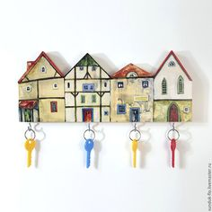 Купить Ключница настенная Домики - ключница ручной работы, ключница в прихожую, ключница, ключница деревянная