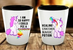 Your Unicorn friends and family members are going to enjoy this funny set of 2 ceramic shot glasses. For Her Best friend Gift Birthday Bachelorette Party Christmas Present Best Friend Gifts, Gifts For Friends, Gifts For Her, Happy Unicorn, Unicorn Gifts, 21st Birthday, Birthday Gifts, Funny Shot Glasses, Bacherolette Party