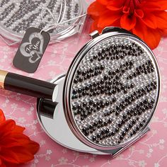 "Zebra Print Classy Compact Mirror - Only 6 in stock! Perfect beauty essential for a ""Will you be my bridesmaid"" gift box!"