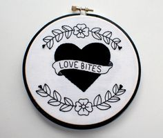 Love Bites Heart Illustration Hand Embroidered by vwrightDesign