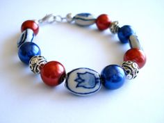 Delfts blue bracelet. Tulip bracelet. Dutch flag by Linnepin010, €14.95