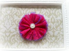 Bright Pink and Purple Lace Hair Clip Lace Hair Clip by Diddlebugs
