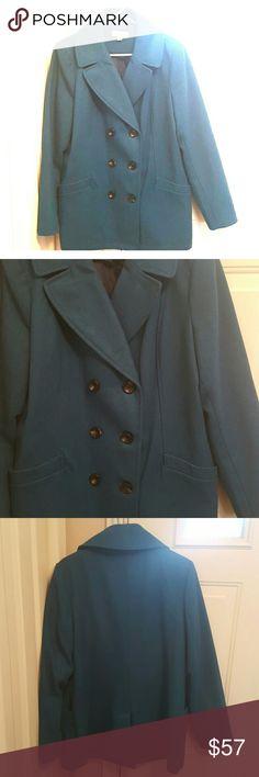 Women's Teal Peacoat Beautiful color peacoat. Barely worn. Button closure. Pockets. Size xxl. Jackets & Coats Pea Coats