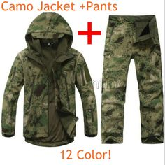 Outdoor Tactical Uniform Clothing Waterproof Sharkskin TAD Gear Softshell Jacket Pants FG AU CP ACU REALTREE GREY 12 Color #Affiliate