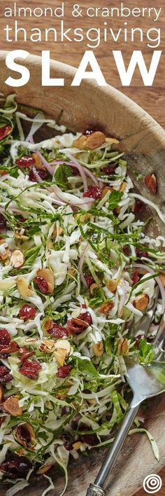 Almond and Cranberry Thanksgiving Slaw Recipe. Your Thanksgiving menu - whether classic or modern - doesn't need salad recipes for ideas for side dishes: it needs this slaw! No sides will top the delicious, vegetarian, healthy flavors and textures in this Vegetarian Recipes, Cooking Recipes, Healthy Recipes, Easy Recipes, Beef Recipes, Recipies, Chicken Recipes, Cooking Tips, Microwave Recipes