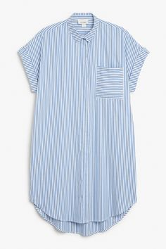 Monki Image 1 of Oversize sleeveless shirt dress in Blue