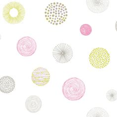 Graphic Circle Chartreuse and Pink wallpaper by Caselio Drops Patterns, Pink Wallpaper, True Colors, Lily, Texture, Simple, Pretty, Room Ideas, Design