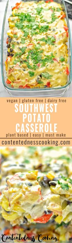 This Southwest Potato Casserole is full of lip smacking flavors. Entirely vegan, and gluten free, protein rich, super easy to make. Comes with a homemade Southwest seasoning, and a delicious creamy vegan Cheese sauce. A must make! #vegan #plantbased #glutenfree #southwest #potatoes #casserole