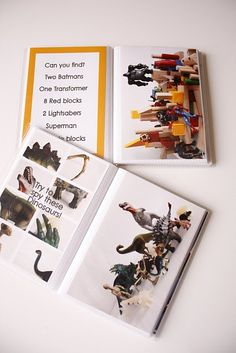 DIY I spy books, take pictures of various objects, toys and create the books using plastic photo albums.  you can store a dry erase marker so they can mark the items off too once they have found it.