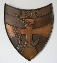 Handcrafted copper JOC shield Beautiful Things, Copper, Typography, History, Logos, Artist, Letterpress, Historia, Letterpress Printing