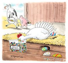 Here's a dozen Easter LOLs just for you! Thinking you need more funny Easter pictures? 🐰 Don't forget the easter gifts! Funny Easter Jokes, Funny Easter Pictures, Easter Cartoons, Funny Eggs, Cartoon Jokes, Funny Cartoons, Funny Comics, Spring Cartoon, Chicken Jokes