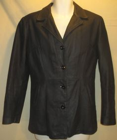 Emporium Oiled Leather Button Up Coat Jacket Women's MADE IN FRANCE-Large T-3 #Emporium #BasicJacket