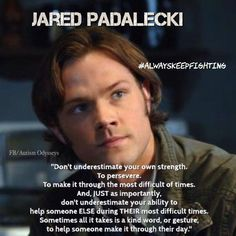 Perfect quote from Jared Padalecki from Supernatural. Supernatural Actors, Supernatural Quotes, Spn Memes, Sherlock Quotes, Familia Winchester, Sam Winchester, Winchester Supernatural, Winchester Brothers, Quotes To Live By