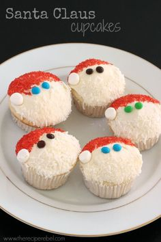 Santa Claus Cupcakes: A super easy cookie or cupcake decorating technique for Christmas -- perfect for kids!