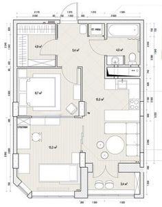 Alaprajz - 53m2-es lakás, kevés ablak - példa külön hálószoba és kényelmes konyha, étkező kialakítására