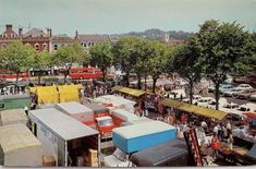Salisbury Market Square, probably early (from vehicles present - police cars, buses, and I'm told that the red Transit is a facelift model which were introduced in Salisbury, Mk1, Police Cars, Buses, 1970s, Dolores Park, Vehicles, Model, Travel