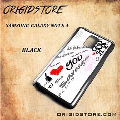I Love You Couple Language For Samsung Galaxy Note 4 Snap On and 3D Case