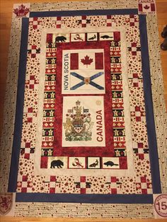 Canada 150 quilt Nova Scotia edition Quilting Tips, Quilting Projects, Quilting Designs, Flag Quilt, Quilt Blocks, Canada Celebrations, Table Runner And Placemats, Table Runners, Canadian Quilts