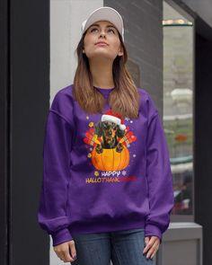 Happy HalloThankSmas Dachshund Dog Lover Gift Vintage Funny - Purple long haired dachshund dapple, dachshund crochet pattern, dachshund halloween costumes #dachshundsarethebest #dachshundsforever #dachshundsinparadise Crew Neck Sweatshirt, Graphic Sweatshirt, Sunflower Shirt, Softball, Bomber Jacket, Clarity, Unisex, Sweatshirts, Sweaters