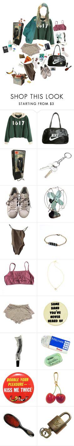 """Untitled #2866"" by duumbblond ❤ liked on Polyvore featuring NIKE, Sony, Gosha Rubchinskiy, adidas, Lazy Oaf, Gorjana, Brandy Melville, Aesop, Pentel and Retrò"
