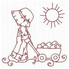 Embroidery Patterns Sunbonnets On The Farm - Embroidery Playground Embroidery Transfers, Hand Embroidery Patterns, Applique Patterns, Custom Embroidery, Applique Quilts, Embroidery Applique, Cross Stitch Embroidery, Machine Embroidery Designs, Quilt Patterns