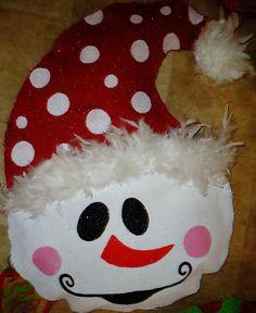 Burlap snowman door hanger for Christmas !