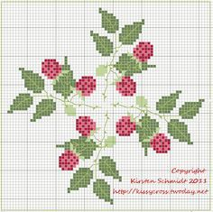 Cross-stitch Raspberries biscornu ... no color chart available, just use the pattern chart as your color guide.. or choose your own colors...