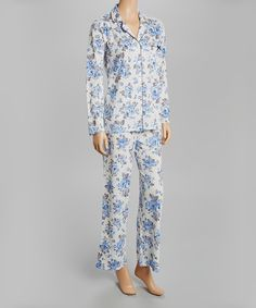 Blue & White English Rose Notch Collar Pajama Set - Women by Laura Ashley #zulily #zulilyfinds